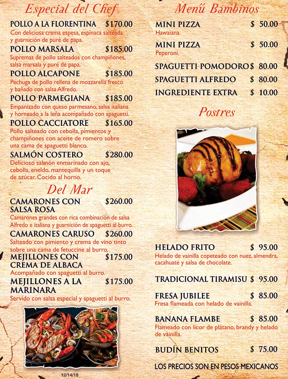 Benitos Menu Pizza Appetizers Salads and Soups